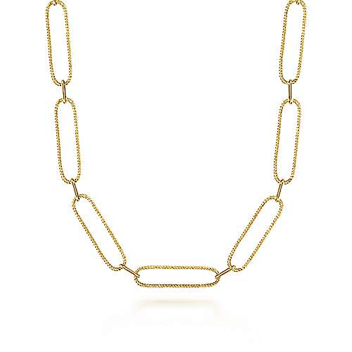 14K Yellow Gold Exaggerated Chain Link Necklace