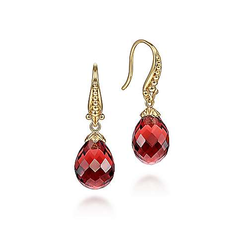 14K Yellow Gold Faceted Garnet Teardrop Dangly Earrings