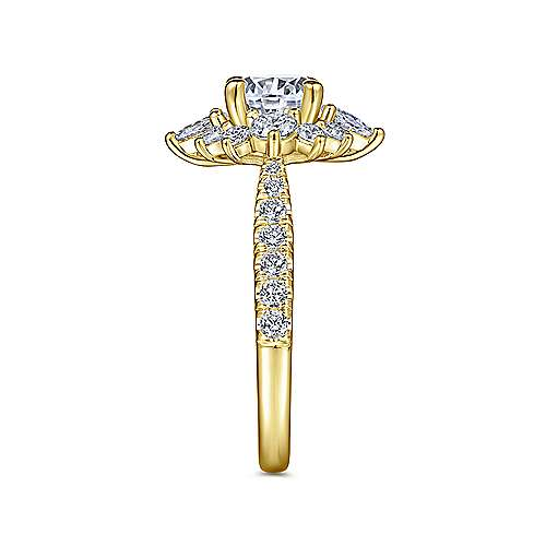14K Yellow Gold Fancy Halo Round Diamond Engagement Ring