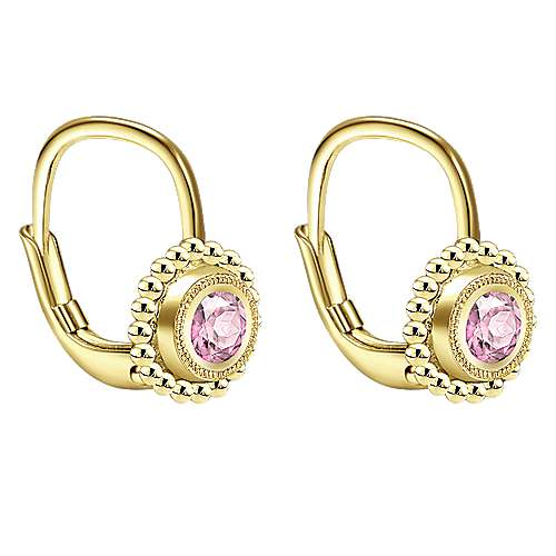 14K Yellow Gold Fashion Pink Created Zircon Earrings