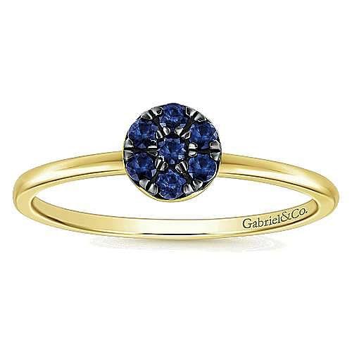 14K Yellow Gold Fashion Round Sapphire Cluster Ladies Ring