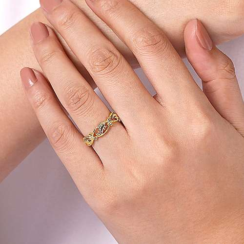 14K Yellow Gold Filigree Floral Ring