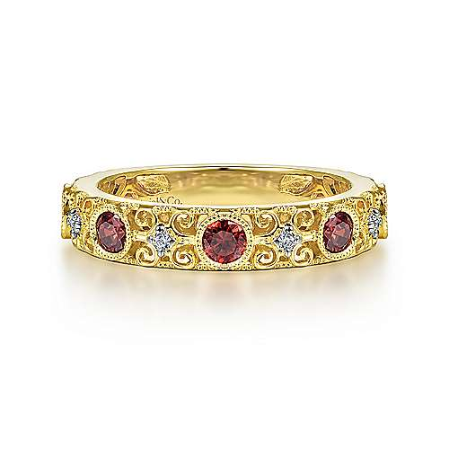 14K Yellow Gold Filligree Garnet and Diamond Ring