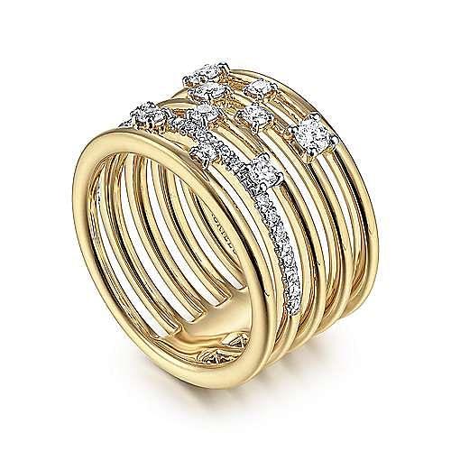 14K Yellow Gold Five Row Diamond Station Ring