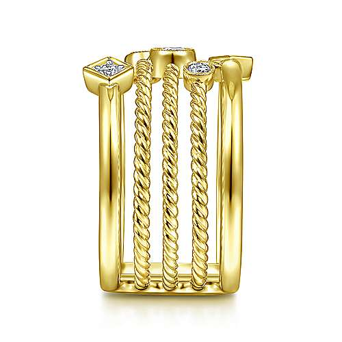 14K Yellow Gold Five Row Twisted Rope and Diamond Station Ring
