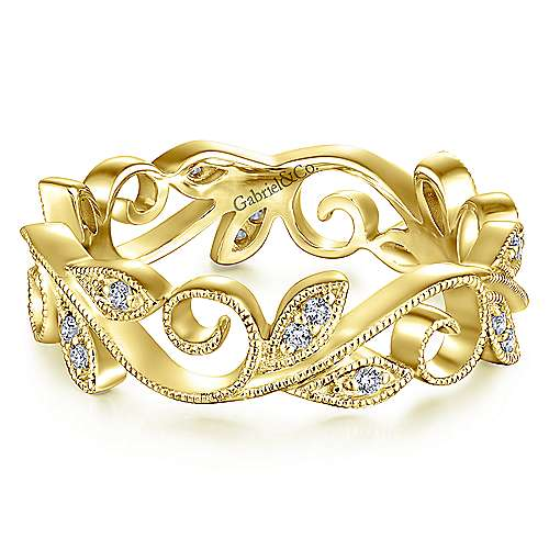 14K Yellow Gold Floral Branch Diamond Eternity Ring