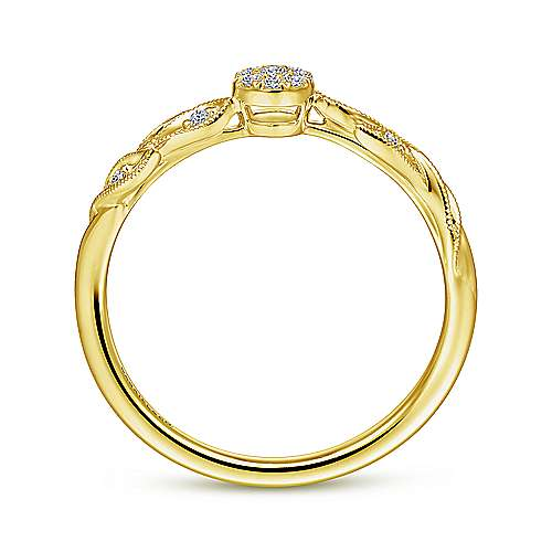 14K Yellow Gold Floral Diamond Stackable Ring