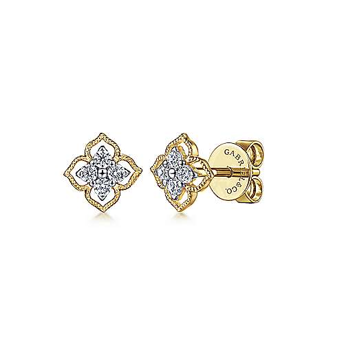 14K Yellow Gold Floral Diamond Stud Earrings