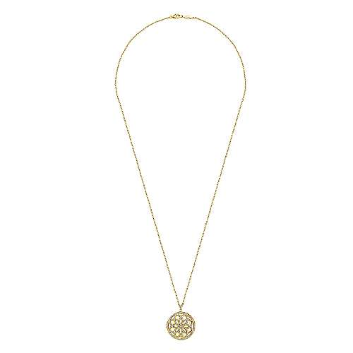 14K Yellow Gold Floral Inspired Diamond Locket Necklace