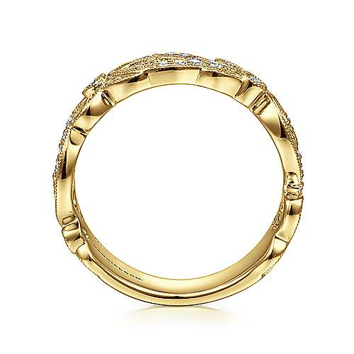 14K Yellow Gold Floral Inspired Diamond Stackable Ring