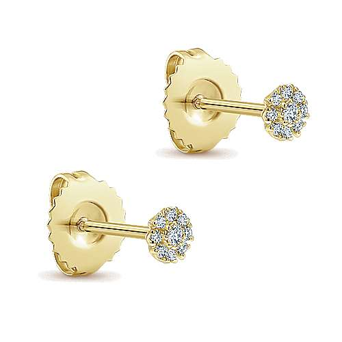 14K Yellow Gold Floral Inspired Diamond Stud Earrings