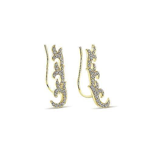 14K Yellow Gold Floral Leaf Diamond Ear Climber Earrings
