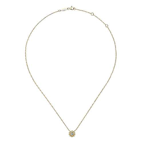14K Yellow Gold Floral Pendant Necklace
