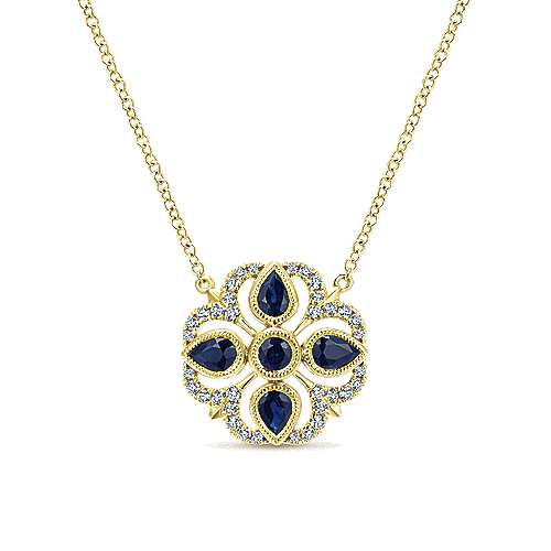 14K Yellow Gold Floral Sapphire and Diamond Pendant Necklace
