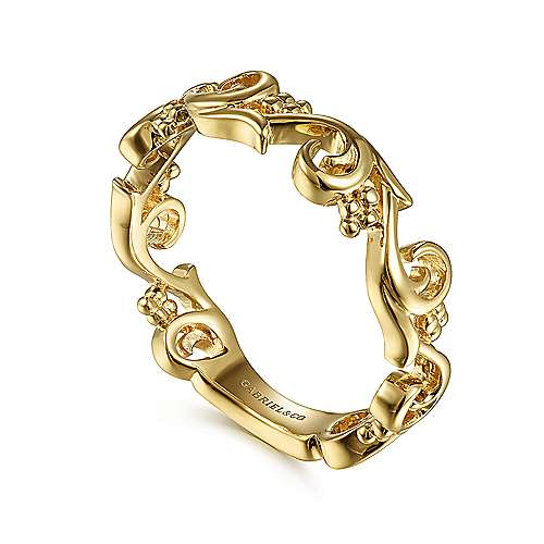 14K Yellow Gold Floral Stackable Ring