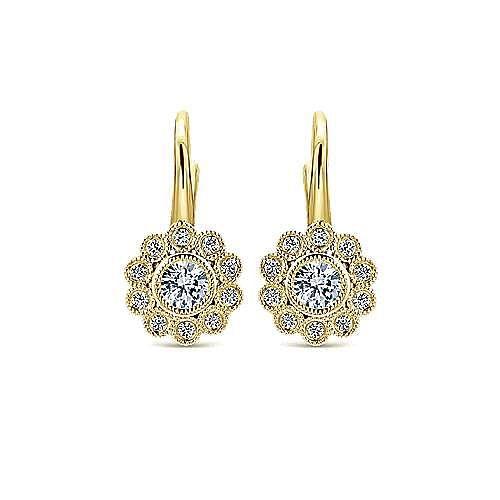 14K Yellow Gold Flower Drop Diamond Earrings