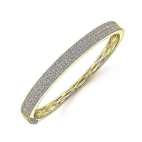 14K Yellow Gold Four Row Diamond Bangle