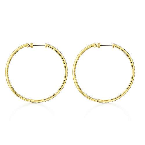 14K Yellow Gold French Pavé 50mm Round Inside Out Diamond Classic Hoop Earrings