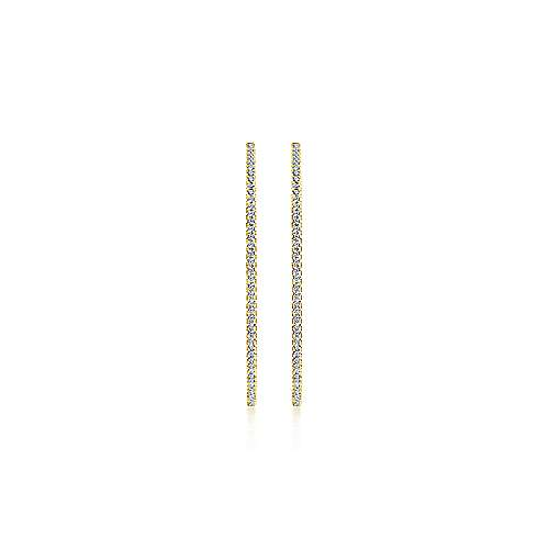 14K Yellow Gold French Pavé 50mm Round Inside Out Diamond Hoop Earrings