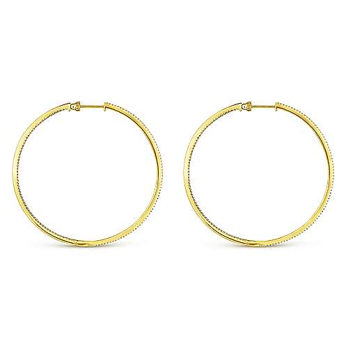 14K Yellow Gold French Pavé 60mm Round Inside Out Diamond Classic Hoop Earrings
