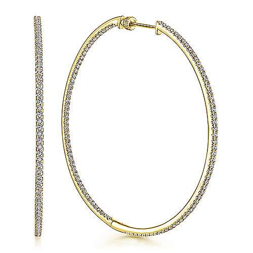 14K Yellow Gold French Pavé 60mm Round Inside Out Diamond Hoop Earrings