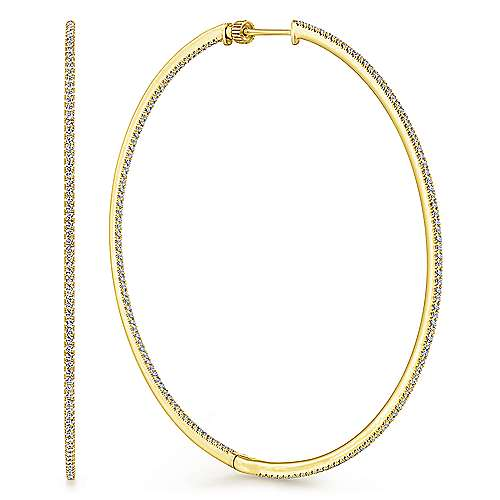 14K Yellow Gold French Pavé 70mm Round Inside Out Diamond Classic Hoop Earrings