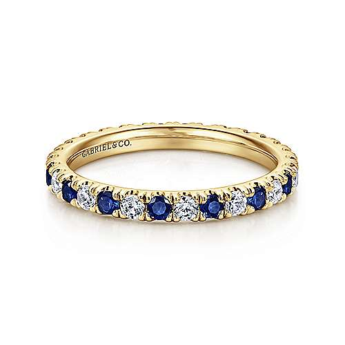 14K Yellow Gold French Pavé Sapphire and Diamond Eternity Band