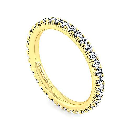 14K Yellow Gold French Pavé Set Diamond Eternity Band