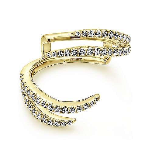 14K Yellow Gold French Pavé Set Diamond Ring Enhancer
