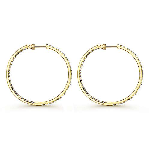 14K Yellow Gold French Pave 40mm Round Inside Out Diamond Hoop Earrings