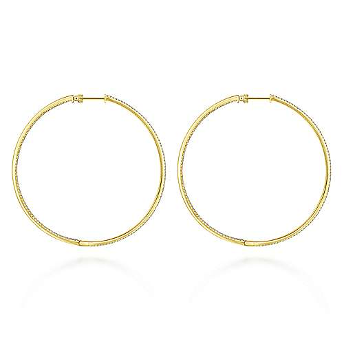 14K Yellow Gold French Pave 70mm Round Inside Out Diamond Hoop Earrings