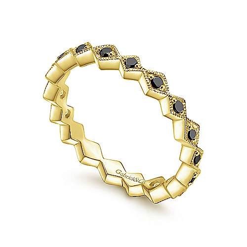 14K Yellow Gold Geometric Black Diamond Stackable Ring