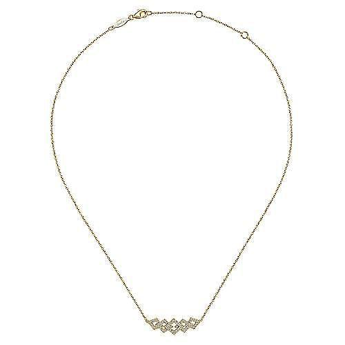 14K Yellow Gold Geometric Cutout Bar Pendant Necklace