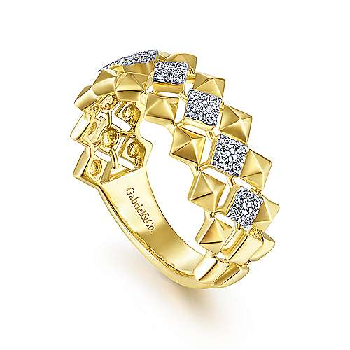 14K Yellow Gold Geometric Diamond Station Grommet Ring