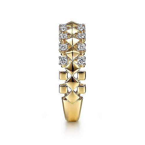 14K Yellow Gold Geometric Diamond Station Grommet Ring