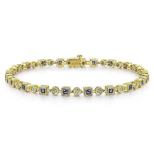 14K Yellow Gold Geometric Diamond and Sapphire Tennis Bracelet