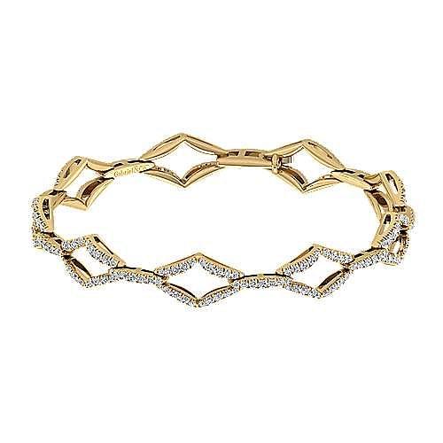 14K Yellow Gold Geometric Link Diamond Tennis Bracelet