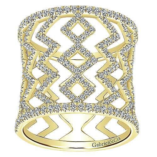 14K Yellow Gold Geometric Pattern Wide Diamond Band