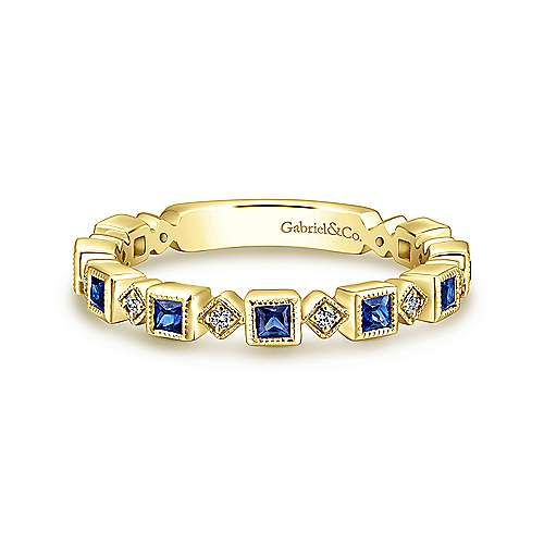 14K Yellow Gold Geometric Sapphire and Diamond Stackable Ring
