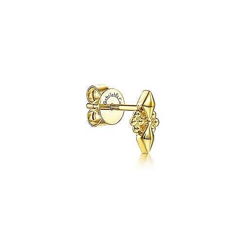 14K Yellow Gold Geometric Single Stud Earring