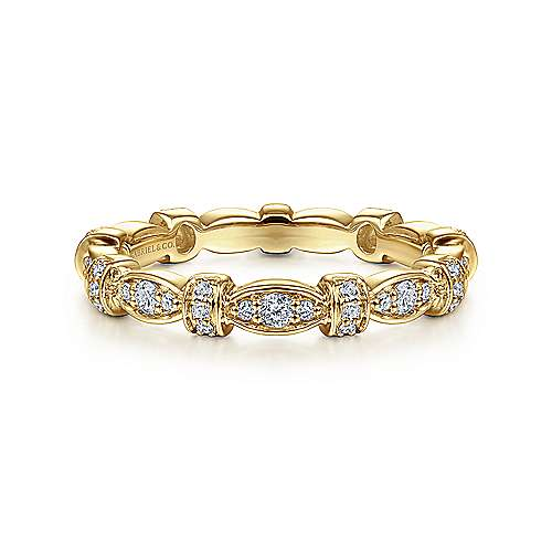 14K Yellow Gold Geometric Stackable Diamond Ring