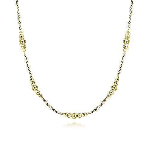 14K Yellow Gold Graduated Bujukan Bead Station Necklace