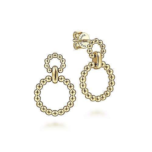 14K Yellow Gold Graduating Bujukan Ball Circle Stud Earrings