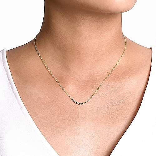 14K Yellow Gold Graduating Bujukan Bead Curved Bar Necklace