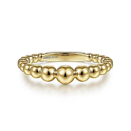 14K Yellow Gold Graduating Bujukan Bead Ring