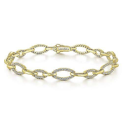 14K Yellow Gold Graduating Diamond Link Tennis Bracelet