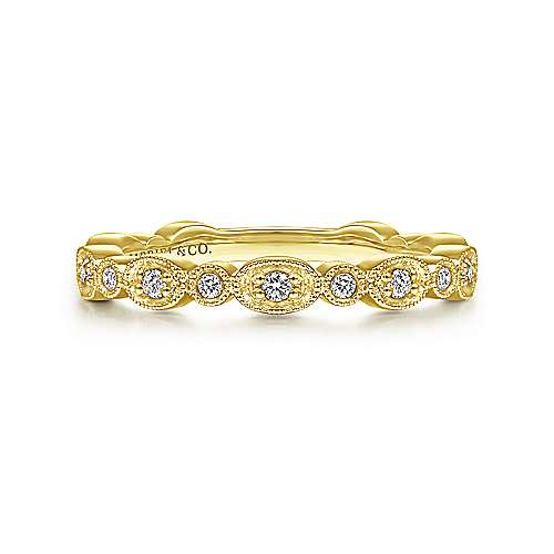14K Yellow Gold Graduating Station Diamond Stackable Ring