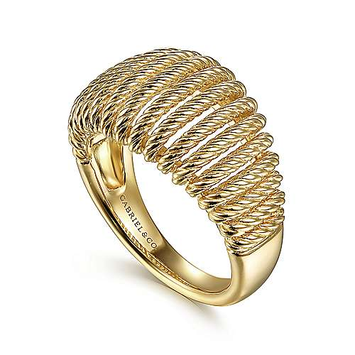 14K Yellow Gold Graduating Twisted Rope Cage Ring