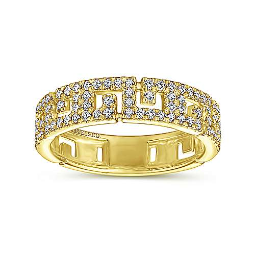 14K Yellow Gold Greek Key Diamond Band