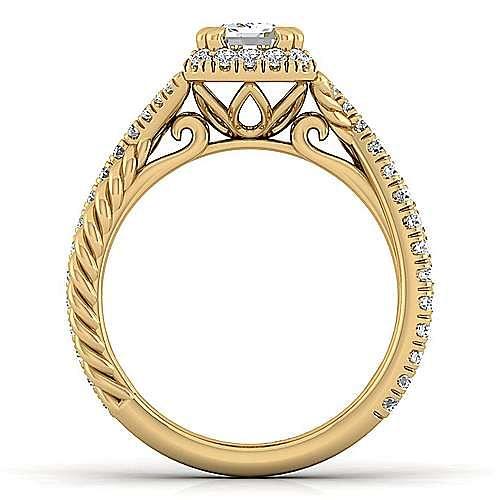 14K Yellow Gold Halo Emerald Cut Diamond Engagement Ring